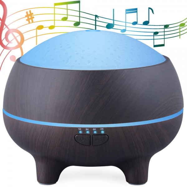 Hidly Dark Wood Grain Aroma Diffuser with Bluetooth Speaker 300ml Waterless Auto-off, 4 Timer Settings